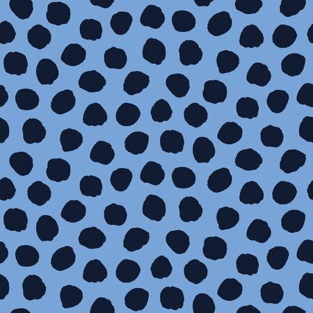 Seamless pattern. Indigo blue hand drawn imperfect polka dot spot shape background. Monochrome textured dotty ink circle all over print swatch
