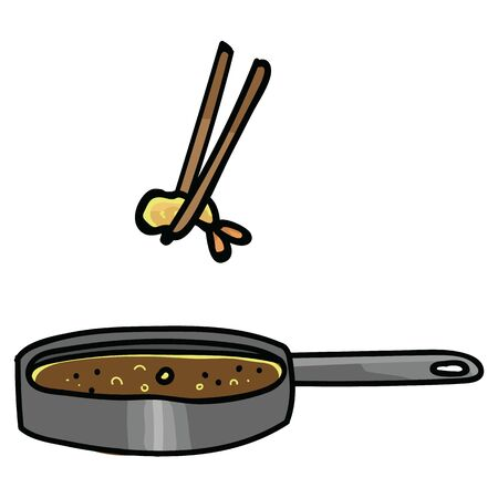 Cute deep fried tempura cooking. Hand drawn Japanese snack clipart.