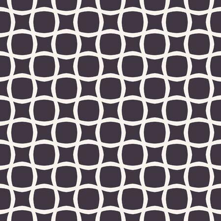 Vektor nahtlose Muster. Abstrakter abgerundeter quadratischer Rasterhintergrund. Einfarbige handgezeichnete geometrische Illustration. Modernes klassisches Karo. Wandverkleidungen, trendiger Hipster-Modedruck. Männliche Wohnkultur Vektorgrafik