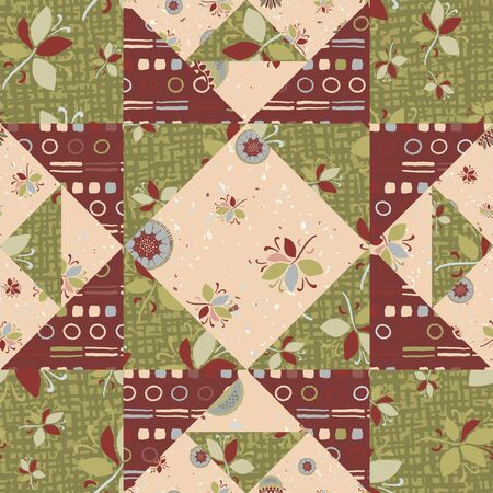 Seamless pattern. Vintage geometric patchwork polygon star quilt. Repeating abstract background. Boho folk art colors. Trendy surface design textile, all over print, masculine wallpaper. Vector swatch Ilustração