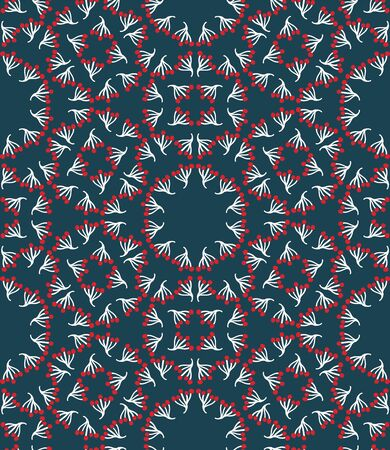 Seamless pattern. Hand drawn abstract winter snowflakes. Stylish crystal stars on green background. Elegant boho holiday all over print. Festive gift wrapping paper yule illustration. Vector swatch.