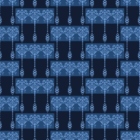 Indigo flower motif Japanese style. pattern. Hand drawn dyed floral damask textiles. Decorative art nouveaux home decor. Modernist trendy monochrome all over print. Seamless vector swatch.