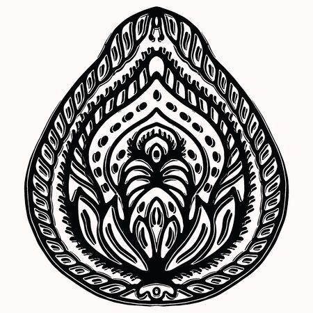 Paisley nature folk art graphic design element. Hand drawn nordic linocut block print motif. Black folkloric clip art paper cutout. Bohemian indian style. Stylized leaf tattoo. Line flourish outline Stock Illustratie