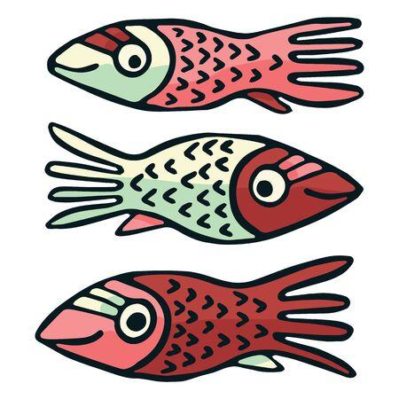 Cute patterned red fish vector illustration. Decorative aquatic life clipart.