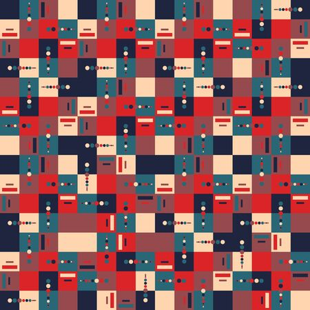 Seamless vector pattern. Hand drawn square geometric mosaic grid. Modern all over print retro swatch