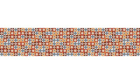 Seamless vector border dot grid pattern. Hand drawn square retro geometric mosaic. Modern hipster banner trim.