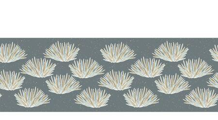 Seamless vector border grass pattern. Hand drawn leaf bush ornamental banner trim. Retro art deco ribbon edge