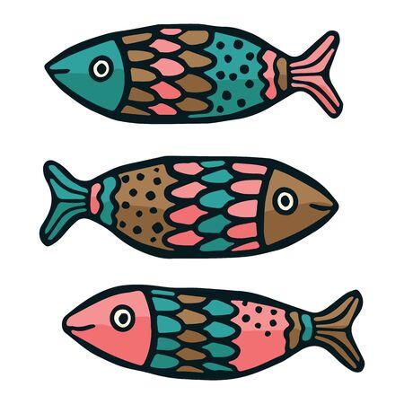 Cute patterned fish vector illustration. Decorative marine life clipart.