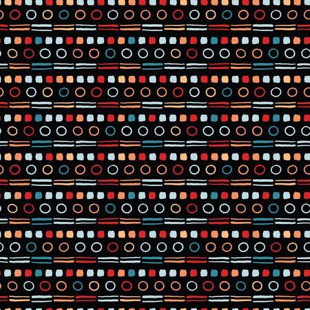 Seamless vector pattern. Modern broken line hand drawn dot stripes. Repeating brush stroke geometricb ackground. Abstract folk art colors. Trendy surface design textiles, allover print, boho wallpaper
