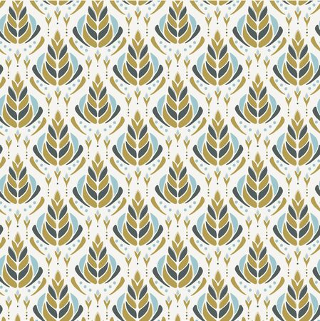 Seamless vector pattern. Hand drawn leaf floral damask. Ornamental baroque all over print. Retro art deco swatch