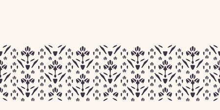 Art Nouveau ornamental flower motif border. Jugendstil style ribbon trim. Retro floral damask textile tape. Decorative arts crafts folksy home decor. Modernist trendy monochrome. Vector seamless edge Stock Illustratie