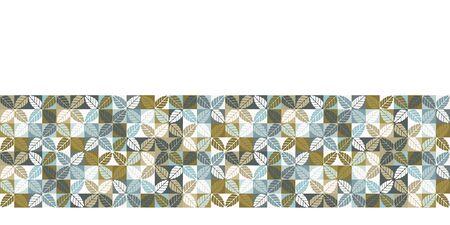 Seamless vector border pattern. Hand drawn leaf floral geometric mosaic grid. Modern all over print retro banner trim Stock Illustratie