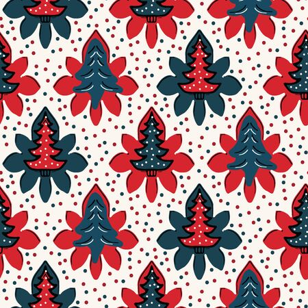 Seamless pattern. Hand drawn stylized Christmas tree floral. Poinsettia flower dot background. Traditional winter holiday all over print. Festive yule gift wrapping paper illustration. Vector swatch