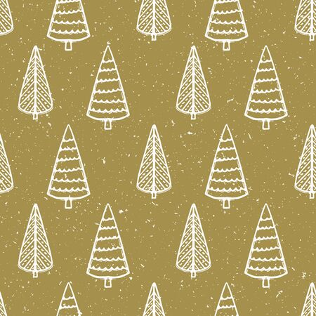 Seamless pattern. Hand drawn snow Christmas tree. Star fir forest snowflakes background. Traditional winter holiday all over print. Stock Illustratie