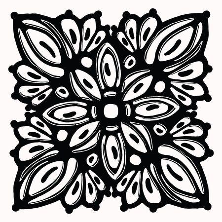 Ornamental folk art graphic design element. Hand drawn linocut block print style. Black folkloric clip art tile. Decorative line flourish motif outline. Arabesque tattoo symbol shape. Drawing sketch. Banque d'images - 131196631