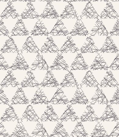 Seamless vector pattern. Hand drawn rough textured triangle. Repeating geo background. Monochrome surface design textile swatch. Modern geometric grid black white wallpaper. Scribbles all over print Stock Illustratie