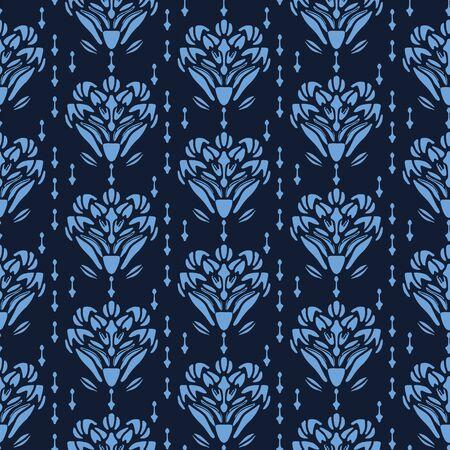 Indigo blue flower motif Japanese style. pattern. Hand drawn dyed floral damask textiles. Decorative art nouveaux home decor. Modernist trendy monochrome all over print. Seamless vector swatch. Иллюстрация
