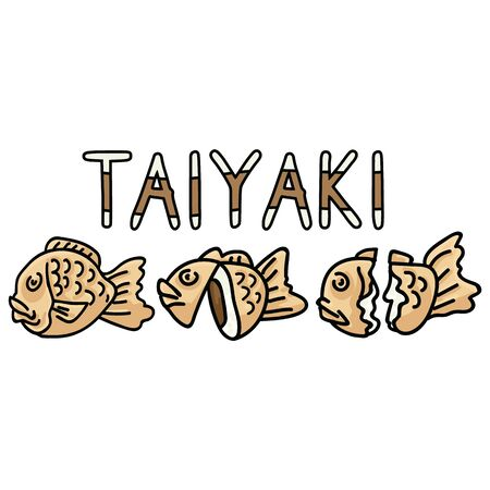 Cute set of taiyaki Japanese pastry desserts illustration. Hand drawn Asian sweet food clipart with typography. Stock Illustratie