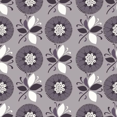 Seamless pattern floral ethnic bloom motif persian style. Hand drawn folk art flower textile. Trendy boho folkloric all over print.