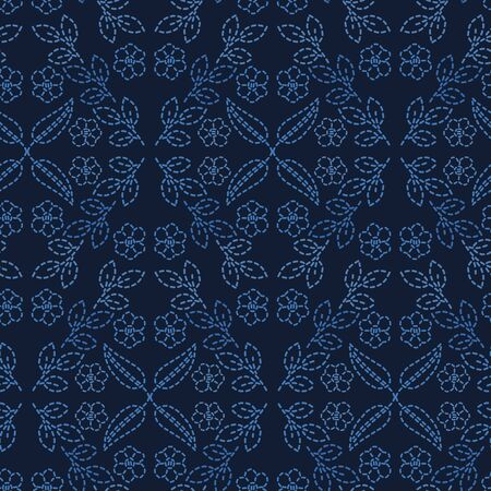 Flower leaf damask motif sashiko style. Japanese needlework seamless vector pattern. Hand stitch indigo blue lace textile print. Classic japan decor, asian fusion embroidery. Kimono quilt template.