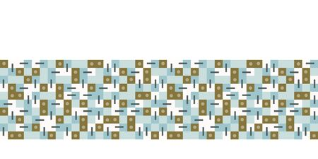 Seamless vector border pattern. Hand drawn square geometric mosaic grid. Modern retro banner trim edging.