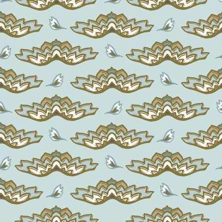 Seamless vector pattern. Hand drawn leaf floral ornamental stripes. Modern all over print retro swatch Stock Illustratie