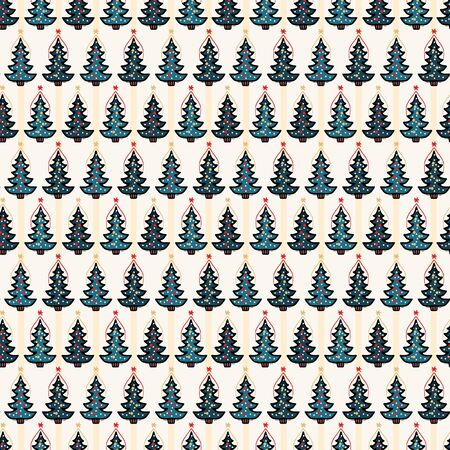Seamless pattern. Hand drawn snow star Christmas tree. Star fir forest stripes background. Traditional winter holiday all over print. Festive yule gift wrapping paper illustration. Vector swatch