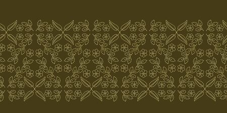 Floral leaf paisley motif running stitch border. Victorian needlework seamless vector pattern. Hand boteh foulard textile ribbon trim. Old green handicraft decor. Embroidery quilt template.