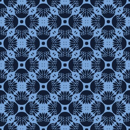 Seamless pattern indigo blue stylized mosaic floral leaf. Japanese navy quilt style home decor background. Trendy mosaic grid all over print. Vetores