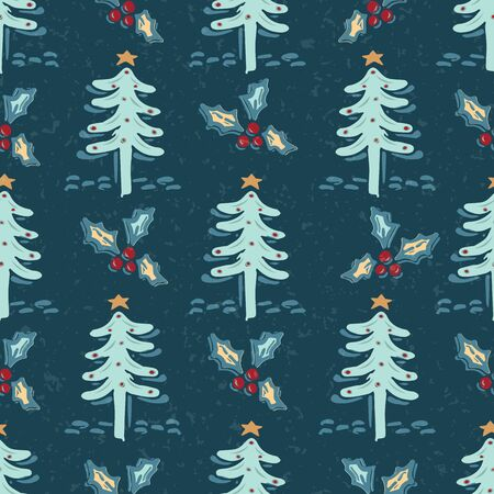 Seamless pattern.Hand drawn stylized Christmas tree. Fir holly leaf forest on green background. Traditional winter holiday all over print. Festive yule gift wrapping paper illustration. Vector swatch