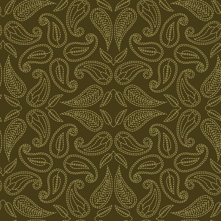Floral leaf paisley motif running stitch style. Victorian needlework seamless vector pattern. Hand stitched boteh foulard textiles print. Old green antique handicraft decor. Embroidery quilt template.