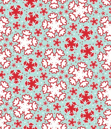 Seamless pattern. Hand drawn abstract winter snowflakes. Stylish crystal stars on green background. Elegant simple holiday all over print. Festive gift wrapping paper yule illustration. Vector swatch.