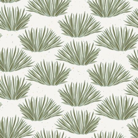 Seamless vector pattern. Hand drawn leaf bush foliage. Modern all over print nature grass swatch.