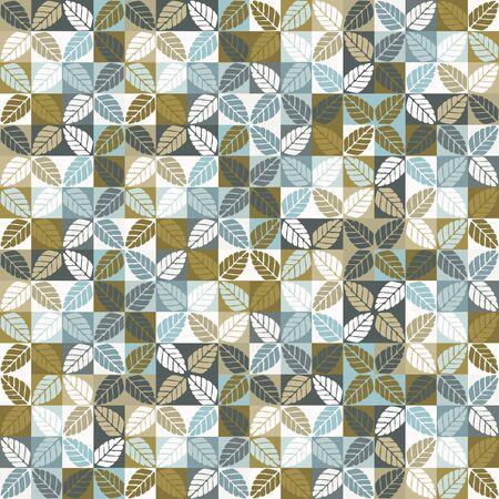 Seamless vector pattern. Hand drawn leaf floral geometric mosaic grid. Modern all over print retro swatch