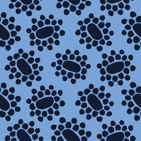 Seamless pattern indigo blue. Hand drawn abstract organic floral seed pod shape background. Monochrome textured flower head all over print swatch