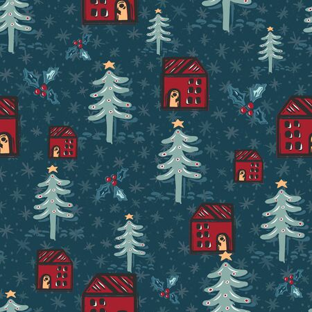 Seamless pattern. Hand drawn naive Christmas star fir tree, house in the woods. Festive folk art background. traditional holiday all over print. Yule gift wrapping paper illustration. Vector swatch