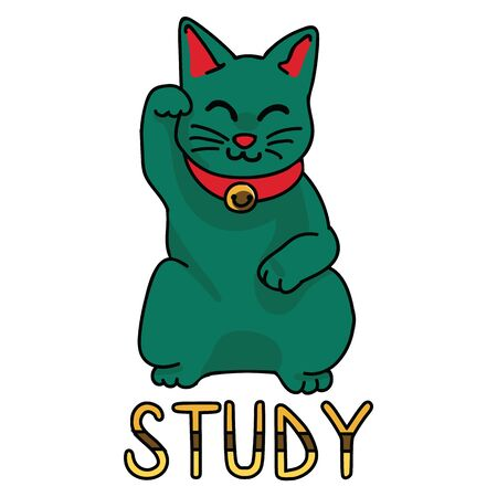 Cute green study lucky cat vector. Hand drawn Asian symbol clipart.  Illustration