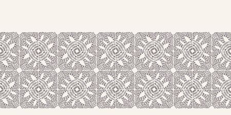 Flower running stitch embroidery border pattern. Simple needlework Hand drawn geometric floral mosaic. Textile ribbon trim. Ecru cream home decor. Monochrome sashiko style. Seamless vector background 写真素材 - 131196755