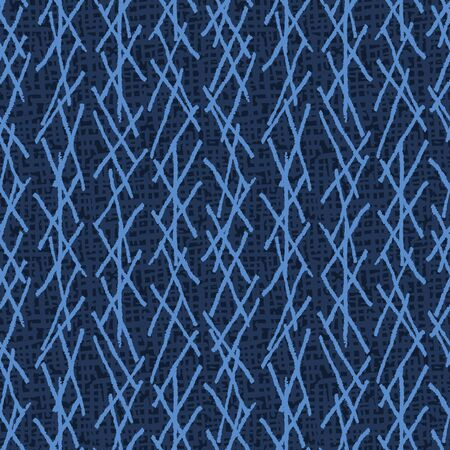 Seamless pattern. Modern indigo blue geometric hand drawn netting stripe. Repeating abstract background. Masculine monochrome geo. Trendy shirting design textile. All over print dyed. Иллюстрация