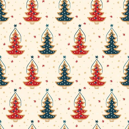 Seamless pattern. Hand drawn snow Christmas tree. Star fir forest snowflakes background. Traditional winter holiday all over print. Festive yule damask gift wrap paper illustration. Vector swatch Stock Illustratie