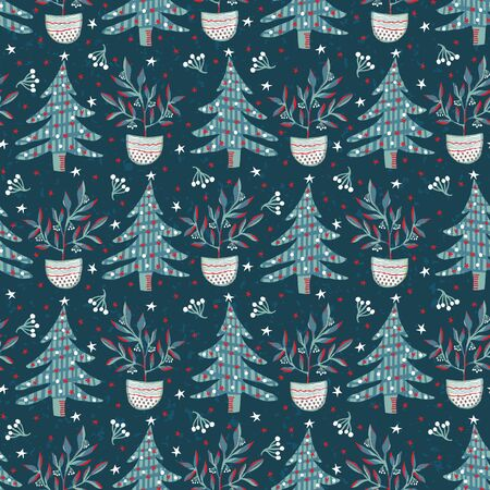 Seamless pattern. Hand drawn stylized Christmas tree. Fir leaf berries plan. Green background. Traditional winter holiday all over print. Festive yule gift wrapping paper illustration. Vector swatch
