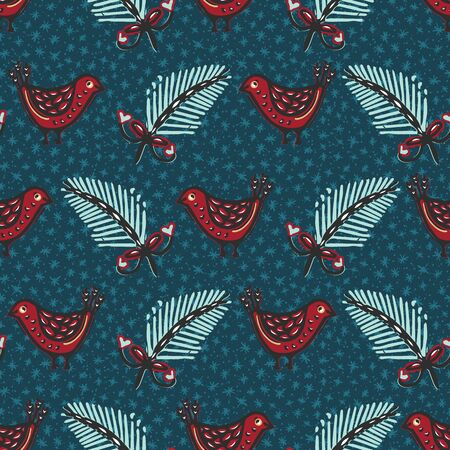 Seamless pattern. Hand drawn Christmas robin bird background. Frosty fir snowflakes all over print. Winter holidays wrap paper. Festive winter illustration. Traditional yule home decor. Vector swatch
