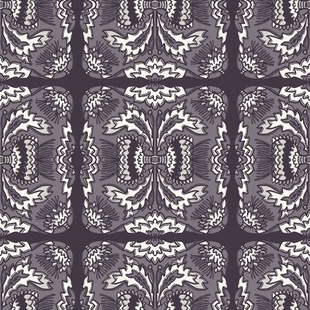Floral thistle leaf flower motif seamless pattern. Trendy ornate monochrome damask all over print.
