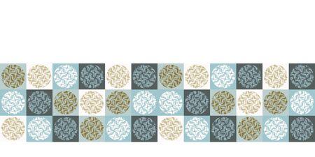 Seamless vector border pattern. Hand drawn square geometric mosaic grid. Modern all over print polka dot banner