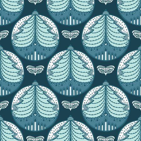Hand drawn stylized Christmas tree bauble pattern. Fir ornament on green background. Cute folk art winter holidays ribbon trim. Festive yule gift wrap washi tape illustration. Seamless vector