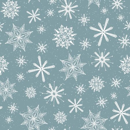 Seamless pattern. Hand drawn abstract winter snowflakes. Stylish crystal stars on cream background. Elegant boho holiday all over print. Stock Illustratie