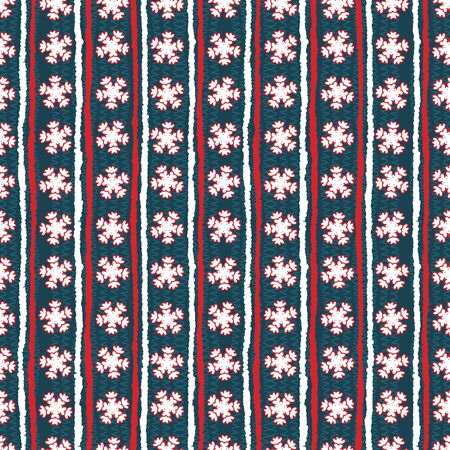 Seamless pattern. Hand drawn abstract winter snowflakes. Stylish crystal stars stripes background. Vertical holiday all over print paper. Festive gift wrapping paper yule illustration. Vector swatch.