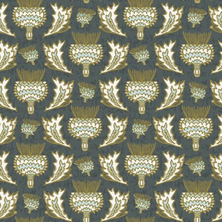 Seamless vector pattern. Hand drawn thistle leaf floral damask. Ornamental baroque all over print. Retro victorian swatch