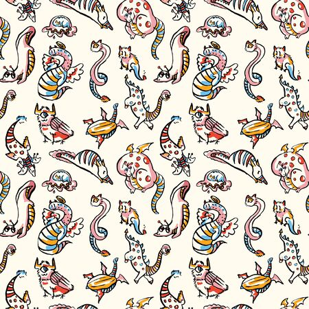 Hand drawn fantasy monster pattern. Cute textured strange creature all over background.