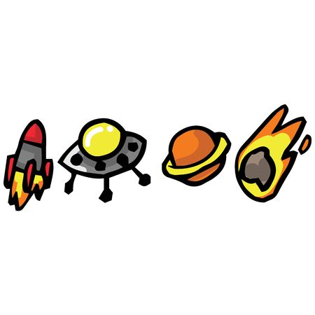 Cute hand drawn space button illustrations. UFO, spaceship, planet and comet clipart.